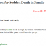 Leave Application for Death in Family (Leave Letter for Death in Family)