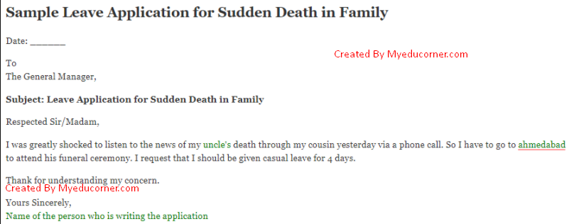 Leave Application For Death In Family Leave Letter For Death In